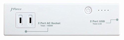 J-Force 電源タップ USB給電 モバイルバッテリー機能付きAC2口+USB2ポート ホワイト 2600mAh 『世界巡業』  JF-PEACE4W JF-PEACE4W