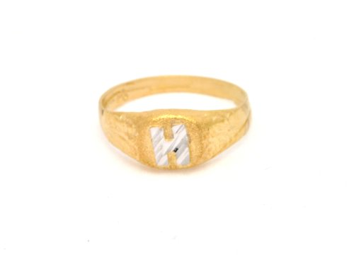 Boys Rings 14K Yellow Gold Initial H Baby Signet Ring