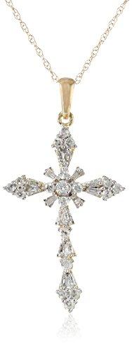 10k Yellow Gold Diamond (1/2cttw) Cross Pendant Necklace, 18