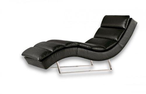 Miraseo MYHHRS62S Niko Chaiselongues - Relaxliege, hochwertiger Loungestuhl Fernsehsessel in Napalonleder schwarz, edler design comfort TV Liegesessel mit den Maßen: 168 x 73 x 86 cm