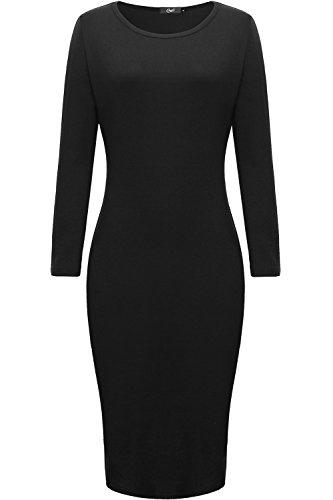 Women Classic Slim Fit Long Sleeve Midi Dress