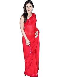 Krishna Emporia Georgette Saree (Plain Saree 4_Red)