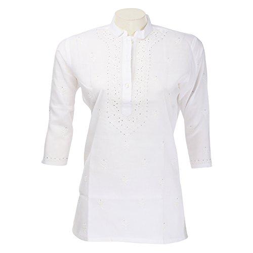 Go Lucknow Women Cotton Chikankari White Short Kurti
