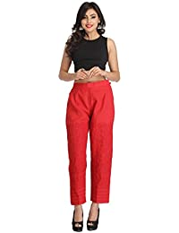 ADA Lucknowi Chikan Needlecraft Women's Red Cotton Palazzo Pants Casual/Party Wear A116613