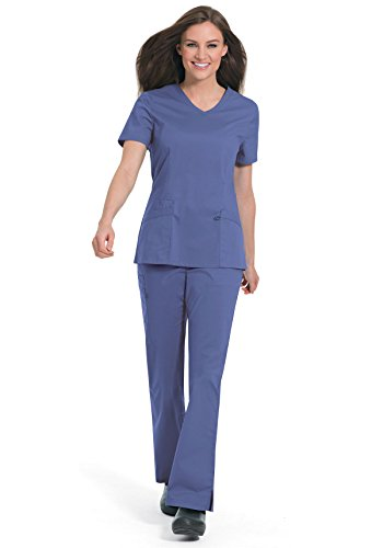 Landau Women's Workflow Stretch V-Neck Scrub Top; Nursing Scrubs