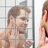 16pcs 3D Mirror Style Art Decal DIY Square Mosaic Silver Wall Sticker Decor