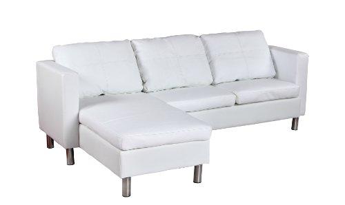 Wohndesign Ecksofa Lounge Sofa Ledersofa Relax Liege Wohnlandschaft weiß