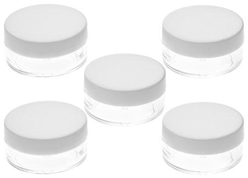 FiveSeasonStuff 5 Pcs 10ml Transparente Cosmétiques Pot pour la Crème avec Couvercle Blanc