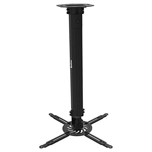 QualGear QG-PM-002-BLK-L Projector Ceiling Mount With Adjustable Extension Column Accessory