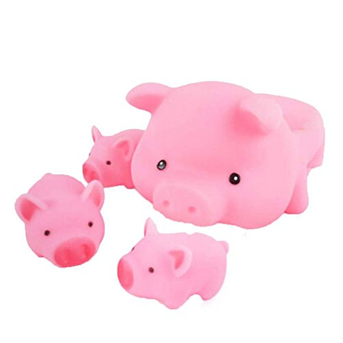 Kangkang@ Creative Lovely Pink Pig Family Wonderful Rubber Baby Squirt Bathtub Toys Baby Pigs Younger Brother Baby Filial Mother Baby Swimming Bath Toys