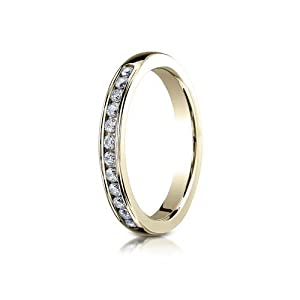 IceCarats Designer Jewelry 18K Yellow Gold 3Mm High Polished Channel Set 12-Stone Diamond Ring (.24Ct) Size 9.5