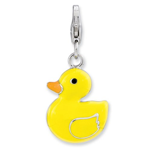 IceCarats Designer Jewelry Sterling Silver Enameled 3-D Duck W/Lobster Clasp Charm