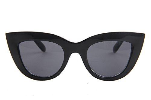 SOJOS Retro Vintage Cateye Sunglasses for Women Plastic Frame Mirrored Lens SJ2939 with Black Frame/Grey Lens