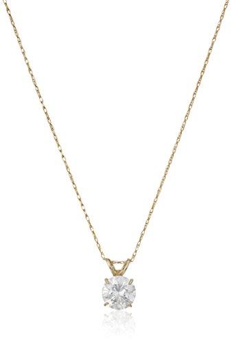 10K Yellow Gold Solitaire Pendant Necklace set with Round Cut Swarovski Zirconia (1 cttw), 18