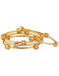 Bindhani® Traditional Ethnic Gold Plated American Diamond (ad) Wedding Bangles Set For Women