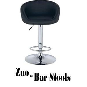 2 Barstools Swivel Seat Black PU Leather Modern Adjustable Hydraulic Bar Stool