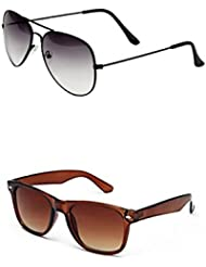SHEOMY COMBO OF STYLISH BLACK WHITE AVIATOR SUNGLASSES AND BROWN WAYFARER SUNGLASSES WITH 2 BOX - Free Delivery