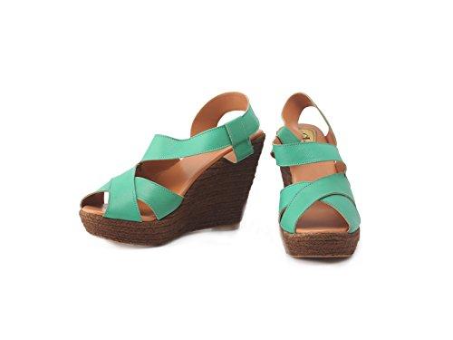 Claude Lorrain Womens Party Wear Leather Sea Green Wedges