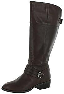 Lauren Ralph Lauren Women's Maritza Wide Calf Riding Boot, Dark Brown, 9.5 B US