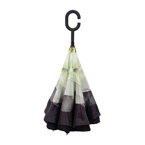 Voyage inverse Parapluie, UV étanche Inverted Umbrella-Strong / Windproof - Sunny ou Rainy amphibie avec les mains en forme de C-Handle gratuit, meill...