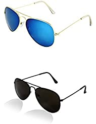 SHEOMY COMBO OF STYLISH BLACK AVIATOR AND GOLDEN BLUE AVIATOR SUNGLASSES WITH 2 BOX - Free Delivery