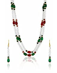 Nisa Pearls White And Red Combination Necklace For Women - B00HLFD7V6