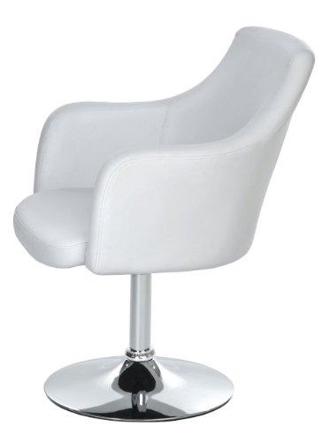 Lounge Sessel von opixeno, aus weißem PU-Leder, Cocktailsessel, Barstuhl, Drehstuhl