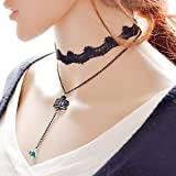 Banggood Retro Gothic 2 Layers Flower Bead Tassel Pendant Necklace Women Lace Jewelry