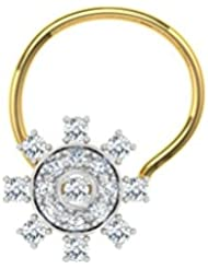 TBZ - The Original 18k (750) Yellow Gold And Diamond Floral Wire Nosepin