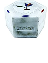 QraftINK Marble Rose Inlay Work Hexagon Shape Jewellery Box