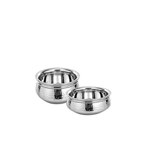Stainless Steel Serving Handi Set Of 2 Pcs With Diemention (20 Cm +17.5 Cm)