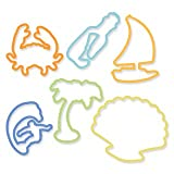 Fun Beach Shapes Silicone Original Silly Bandz Rubber Band Bracelets Party Favors - 6 Packs with 24 Bands in Each Pack (144 Wristbands Total)