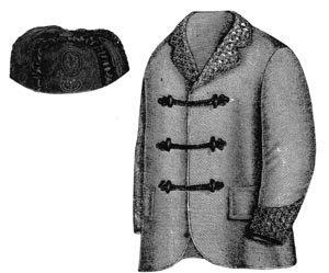 Men's Vintage Reproduction Sewing Patterns 1868 Smoking Jacket & Cap Pattern $11.75 AT vintagedancer.com