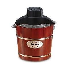 Aroma 4-Quart Traditional Ice Cream Maker Both Hand Crank & Electric Motor Bonus Recipe Book Included