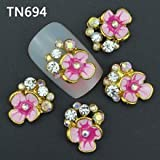 10Pcs New 2015 Gliter Flower Decorations With Rhinestones,3D Metal Alloy Nail Art Decoration/Charms/Studs,Nails...
