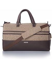 Veuza Madrid Premium Jacquard And Faux Leather Choco Brown Duffel Bag