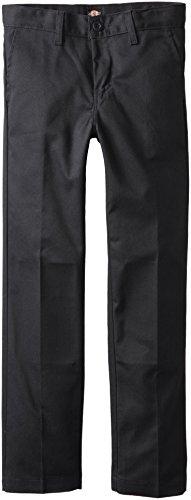 Dickies Khaki Big Boys' Flex Waist Slim Stretch Pant, Black, 14 Regular