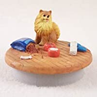 """Pomeranian Red Candle Topper Tiny One """"A Day At Home"""""""