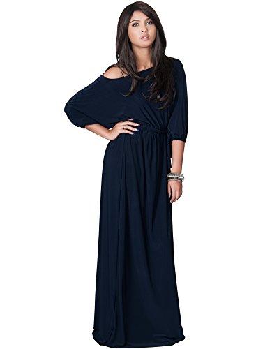 KOH KOH Women's One Shoulder Cocktail Evening Elegant Long Maxi Dress - XXX-Large- Navy Blue