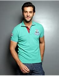 Teal Green Polo With Pleated Tipped Collar