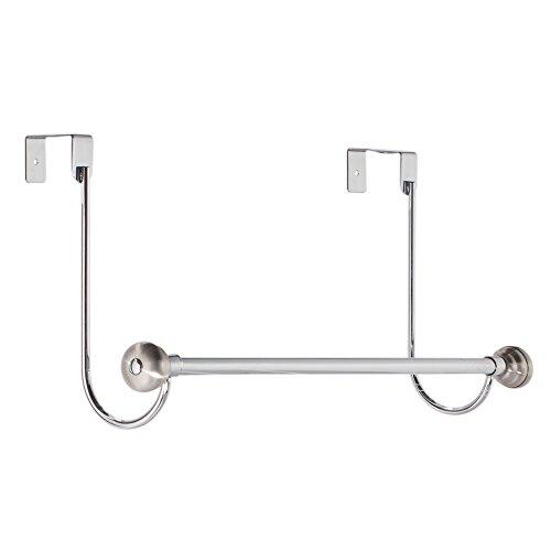 InterDesign York Over-the-Door Bath Towel Bar Holder Rack, Chrome/Stainless