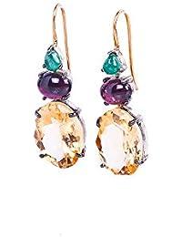 Gehna 18k (750) Yellow Gold And Emerald Drop Earrings