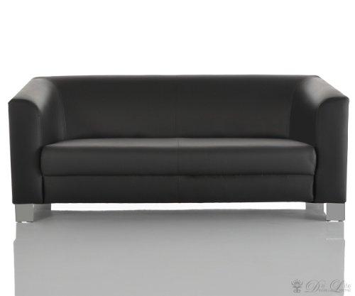 Sofa Carlo 185x75 cm Schwarz verchromtes Metall 3-Sitzer