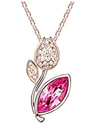 GirlZ! Swarovski Like Elements Crystal Rose Flower Pendant Necklace With Chain - Cocktail Jewelry - Rose Gold