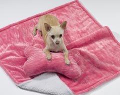 Amazon.com : Pink Plush Dog Pillow Blanky Set : Pet Bed