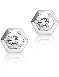 BIG Tree 18K White Gold Plated Silver Hexagon CZ Solitaire Earring For Women.