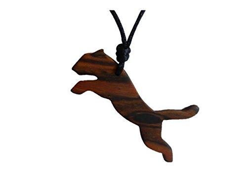 Krafttier Anhänger TIGER aus Edelholz (Holz: Bocote) mit Satinband verstellbar