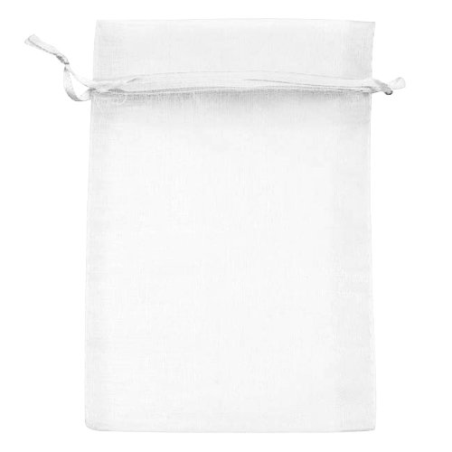 Beadaholique Drawstring Gift Bags, 4 by 6-Inch, White Organza