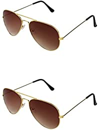 SHEOMY COMBO OF GOLDEN BROWN AVIATOR AND GOLDEN BROWN AVIATOR SUNGLASSES WITH 2 BOX (SUN-063)