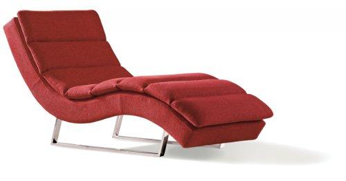 Miraseo MYHHRS63R Niko Chaiselongues - Relaxliege, hochwertiger Loungestuhl Fernsehsessel in Textil (Stoff), Farbe Rot, edler design comfort TV Liegesessel mit den Maßen: 168 x 73 x 86 cm
